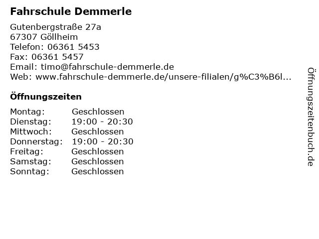 Fahrschule Demmerle in Göllheim: Adresse und Öffnungszeiten