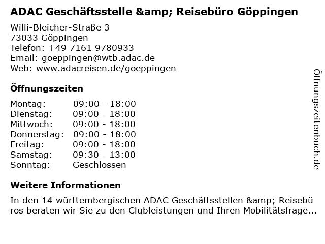 ADAC Geschäftsstelle & Reisebüro Göppingen in Göppingen: Adresse und Öffnungszeiten