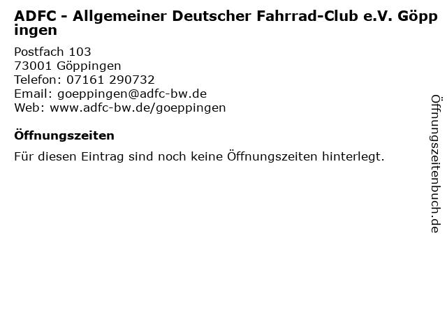 ADFC - Allgemeiner Deutscher Fahrrad-Club e.V. Göppingen in Göppingen: Adresse und Öffnungszeiten