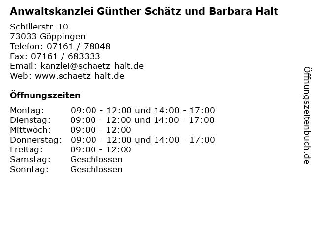 Anwaltskanzlei Günther Schätz und Barbara Halt in Göppingen: Adresse und Öffnungszeiten