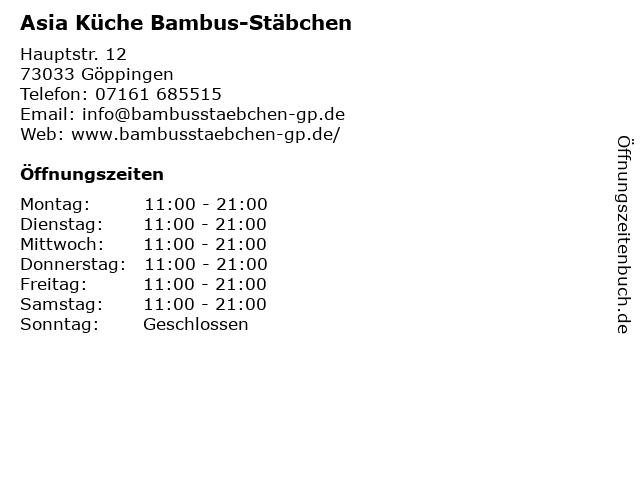 Asia Küche Bambus-Stäbchen in Göppingen: Adresse und Öffnungszeiten