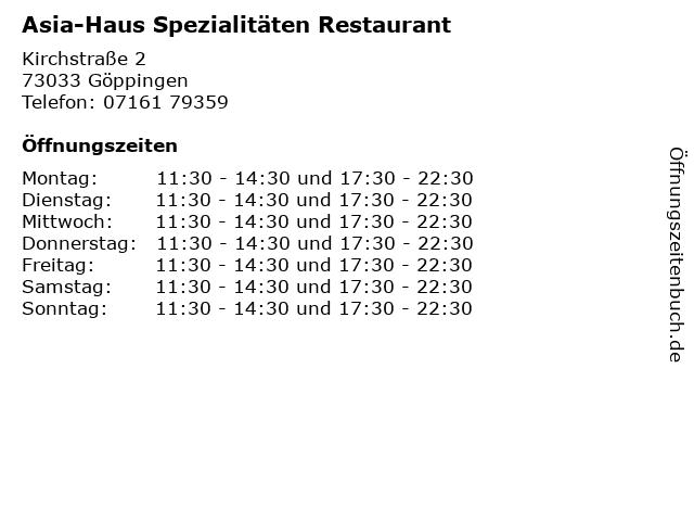 Asia-Haus Spezialitäten Restaurant in Göppingen: Adresse und Öffnungszeiten
