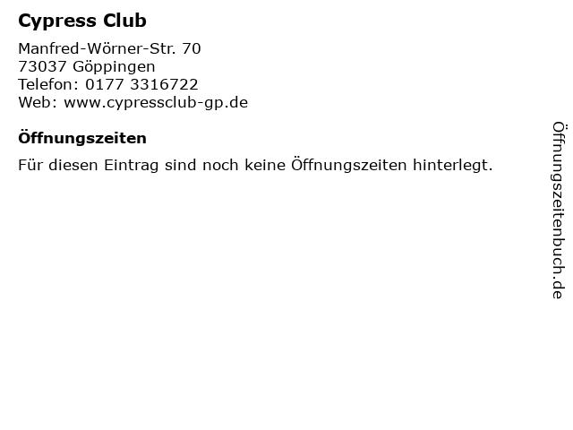 Cypress Club in Göppingen: Adresse und Öffnungszeiten