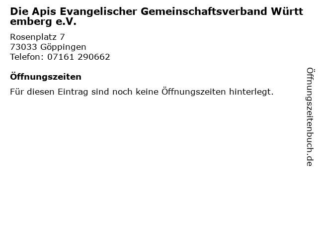 Die Apis Evangelischer Gemeinschaftsverband Württemberg e.V. in Göppingen: Adresse und Öffnungszeiten