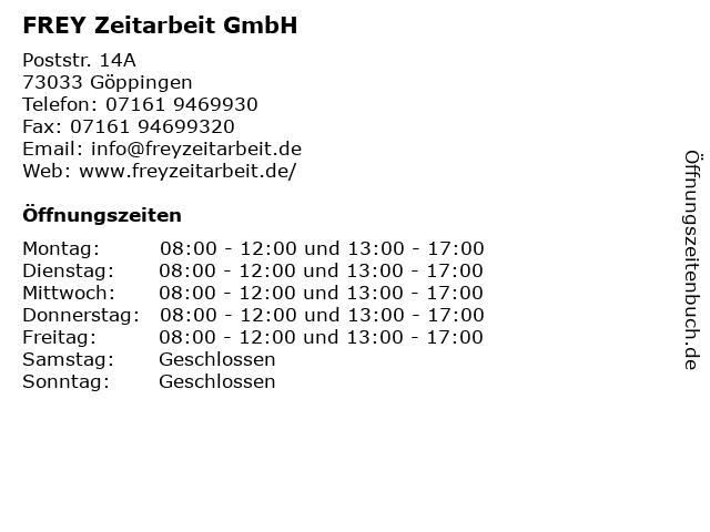 FREY Zeitarbeit GmbH in Göppingen: Adresse und Öffnungszeiten