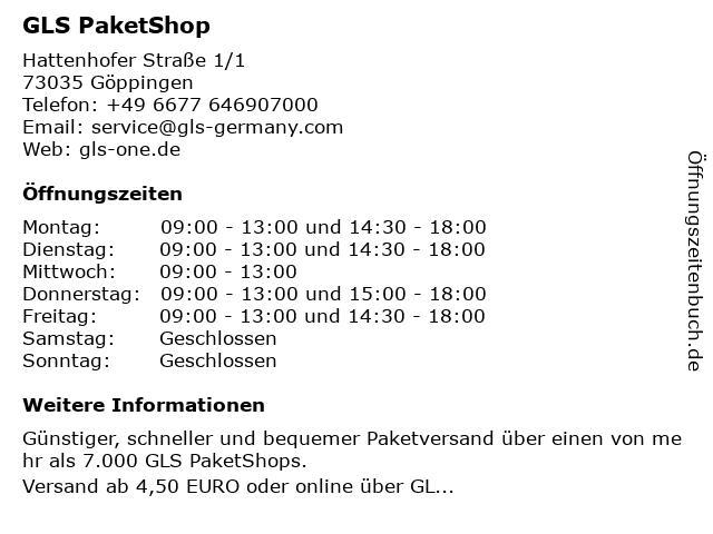 GLS PaketShop in Göppingen: Adresse und Öffnungszeiten