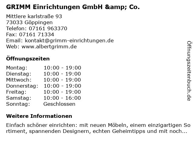 ᐅ öffnungszeiten Grimm Einrichtungen Mittlere Karlstraße 93 In