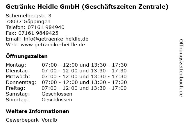 Getränke Heidle GmbH (Geschäftszeiten Zentrale) in Göppingen: Adresse und Öffnungszeiten