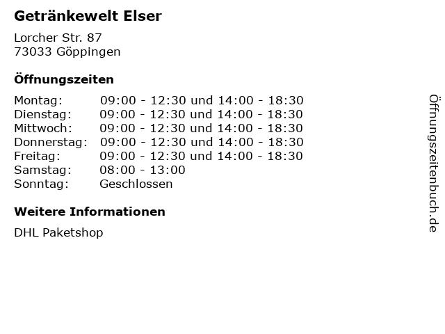 Getränkewelt Elser in Göppingen: Adresse und Öffnungszeiten