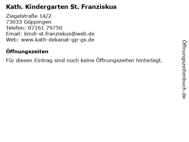 Kath. Kindergarten St. Franziskus in Göppingen: Adresse und Öffnungszeiten