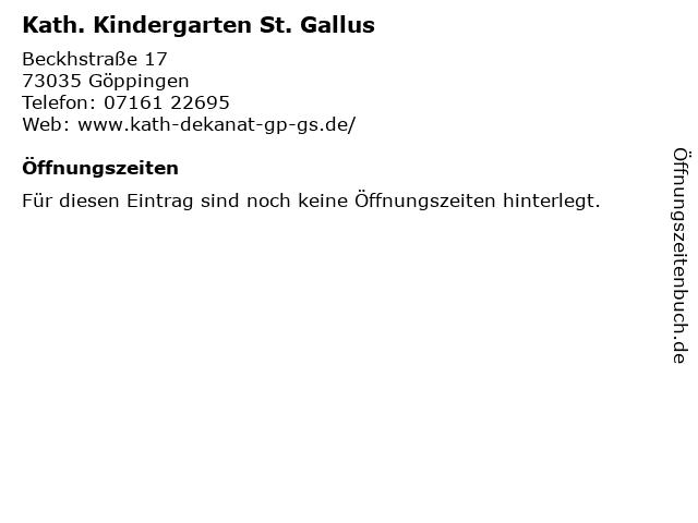 Kath. Kindergarten St. Gallus in Göppingen: Adresse und Öffnungszeiten