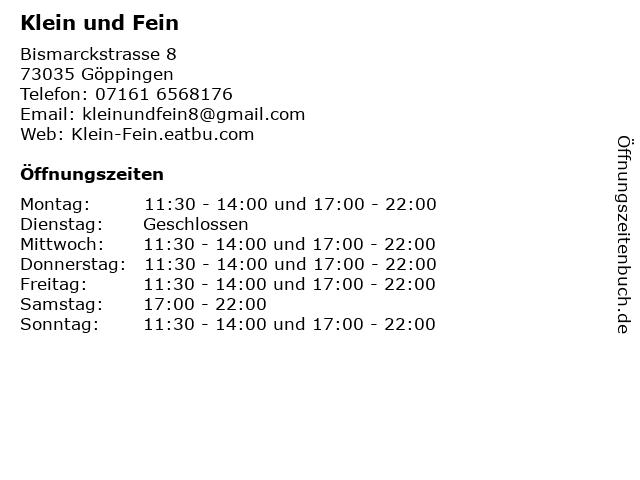 Klein und Fein in Göppingen: Adresse und Öffnungszeiten