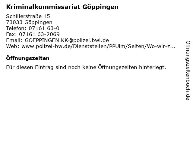 Kriminalkommissariat Göppingen in Göppingen: Adresse und Öffnungszeiten