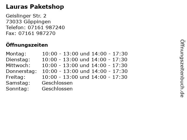Lauras Paketshop in Göppingen: Adresse und Öffnungszeiten