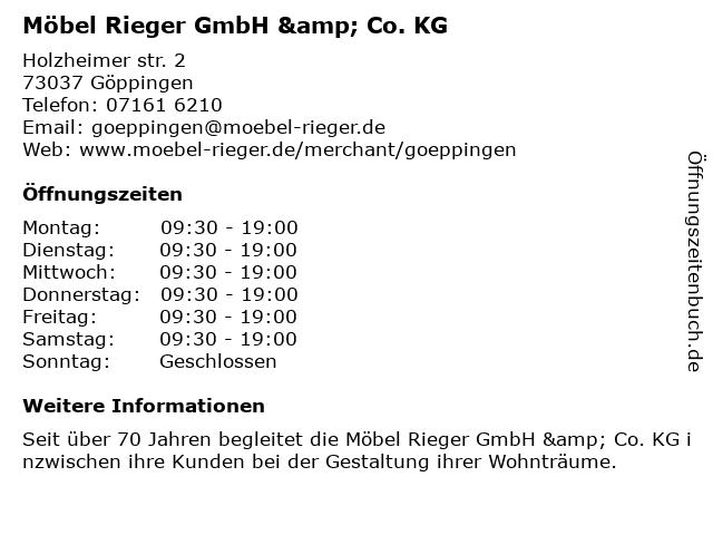ᐅ öffnungszeiten Möbel Rieger Gmbh Co Kg Holzheimerstr 2 In