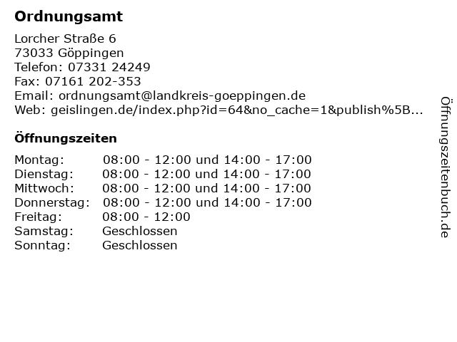Ordnungsamt in Göppingen: Adresse und Öffnungszeiten
