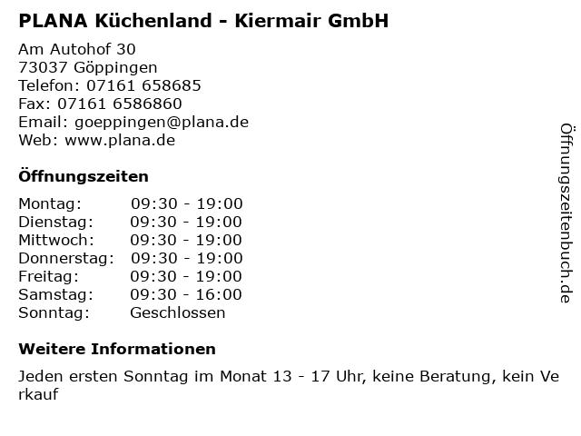 ᐅ Offnungszeiten Plana Kuchenland Kiermair Gmbh Am Autohof 30