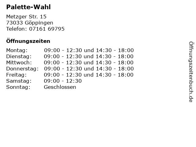Palette-Wahl in Göppingen: Adresse und Öffnungszeiten