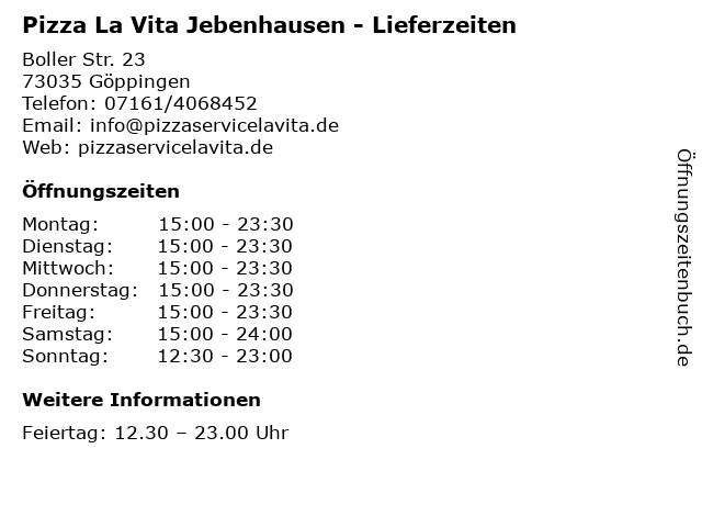 Pizza La Vita Jebenhausen - Lieferzeiten in Göppingen: Adresse und Öffnungszeiten