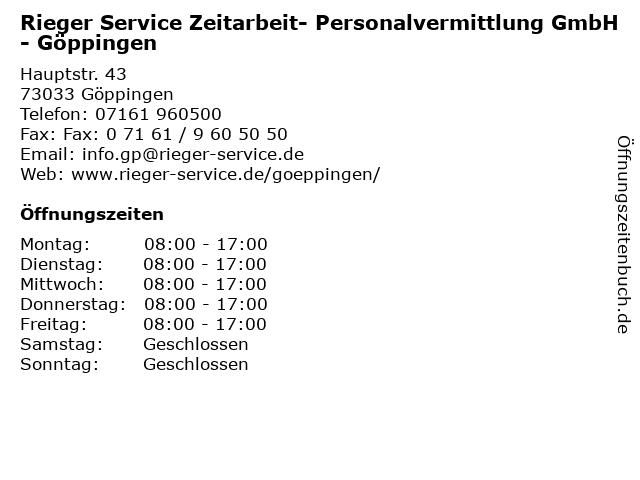 ᐅ öffnungszeiten Rieger Service Zeitarbeit Personalvermittlung