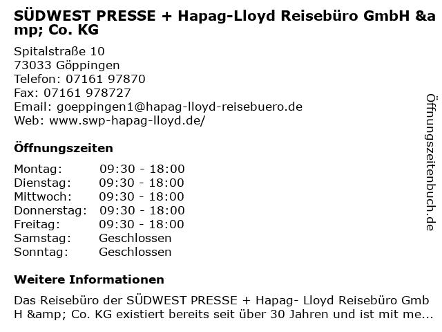 SÜDWEST PRESSE + Hapag-Lloyd Reisebüro GmbH & Co. KG in Göppingen: Adresse und Öffnungszeiten