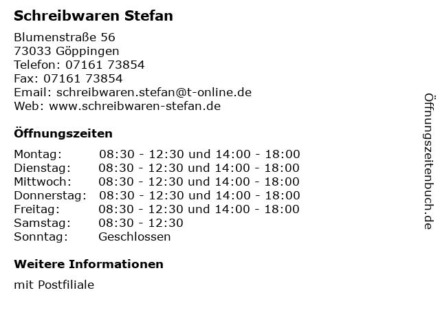 Schreibwaren Stefan in Göppingen: Adresse und Öffnungszeiten