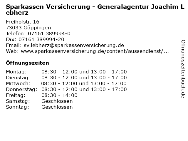 Sparkassen Versicherung - Generalagentur Joachim Lebherz in Göppingen: Adresse und Öffnungszeiten