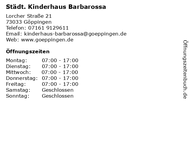 Städt. Kinderhaus Barbarossa in Göppingen: Adresse und Öffnungszeiten