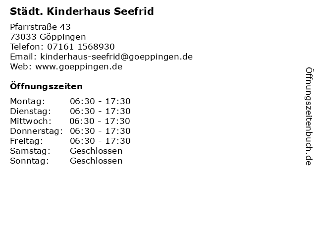 Städt. Kinderhaus Seefrid in Göppingen: Adresse und Öffnungszeiten