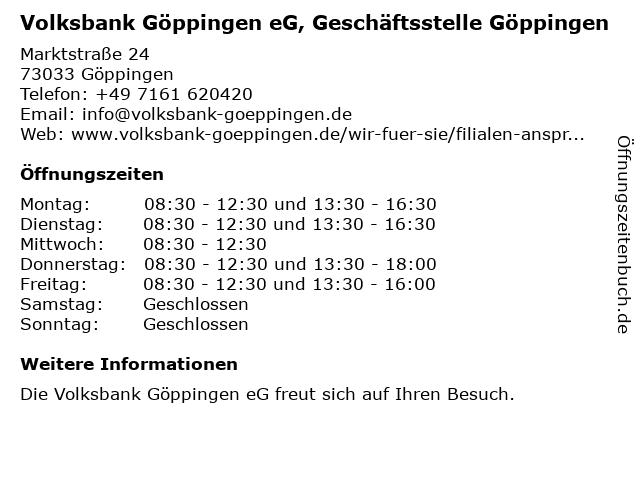 Volksbank Göppingen eG, Geschäftsstelle Göppingen in Göppingen: Adresse und Öffnungszeiten