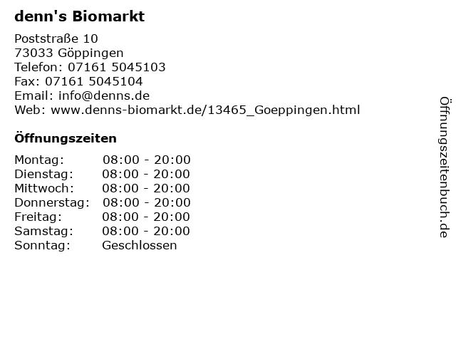 denn's Biomarkt in Göppingen: Adresse und Öffnungszeiten