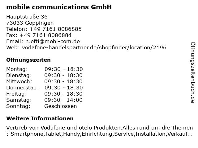 mobile communications GmbH in Göppingen: Adresse und Öffnungszeiten