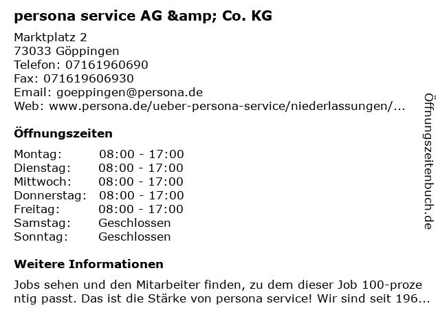 persona service AG & Co. KG in Göppingen: Adresse und Öffnungszeiten