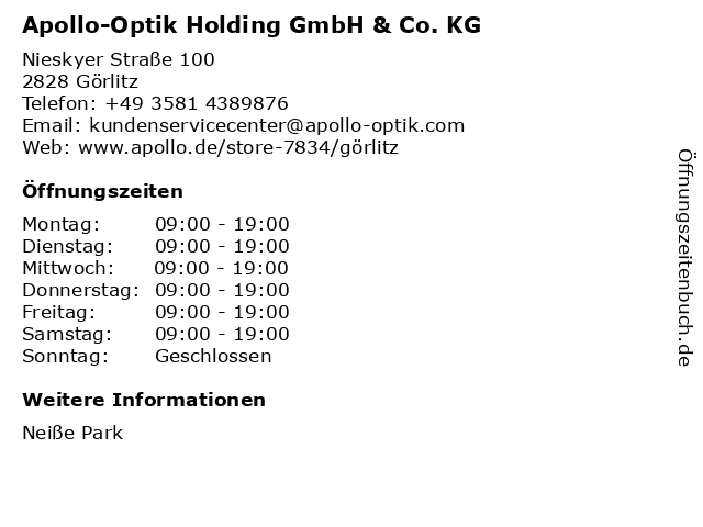 Apollo-Optik Holding GmbH & Co. KG in Görlitz: Adresse und Öffnungszeiten