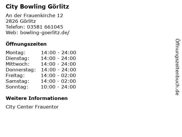 City Bowling Görlitz in Görlitz: Adresse und Öffnungszeiten