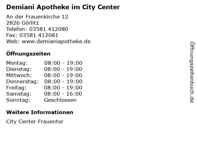 Demiani Apotheke im City Center in Görlitz: Adresse und Öffnungszeiten