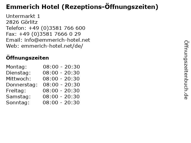 Emmerich Hotel (Rezeptions-Öffnungszeiten) in Görlitz: Adresse und Öffnungszeiten
