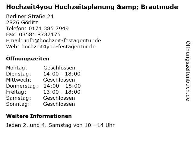 Hochzeit4you Hochzeitsplanung & Brautmode in Görlitz: Adresse und Öffnungszeiten