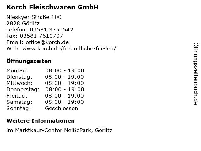 Korch Fleischwaren GmbH in Görlitz: Adresse und Öffnungszeiten