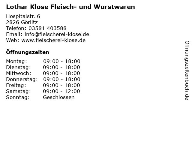 Lothar Klose Fleisch- und Wurstwaren in Görlitz: Adresse und Öffnungszeiten