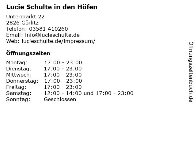 Lucie Schulte in den Höfen in Görlitz: Adresse und Öffnungszeiten