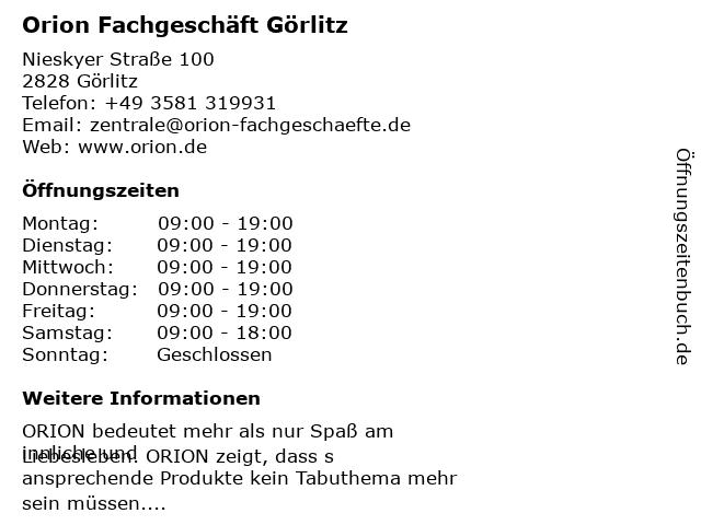 Orion Fachgeschäft Görlitz in Görlitz: Adresse und Öffnungszeiten
