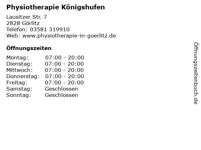 Physiotherapie Königshufen in Görlitz: Adresse und Öffnungszeiten