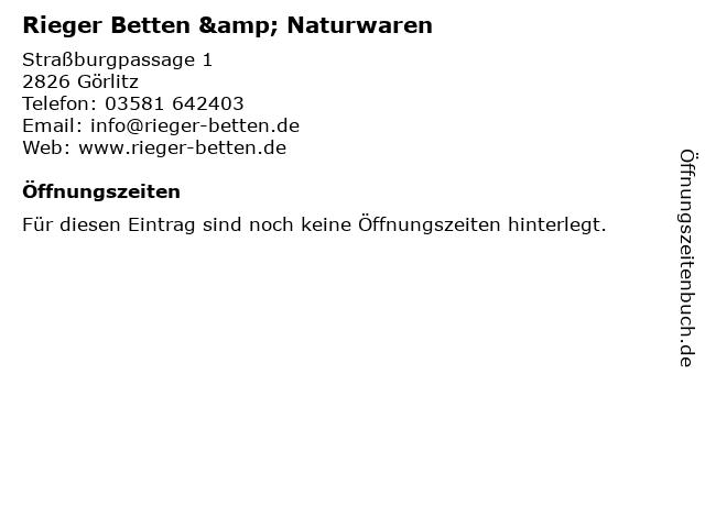 Rieger Betten- u. Naturwaren GmbH & Co.KG in Görlitz: Adresse und Öffnungszeiten