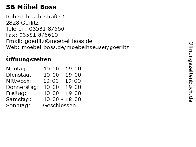 ᐅ öffnungszeiten Sb Möbel Boss Robert Bosch Straße 1 In Görlitz