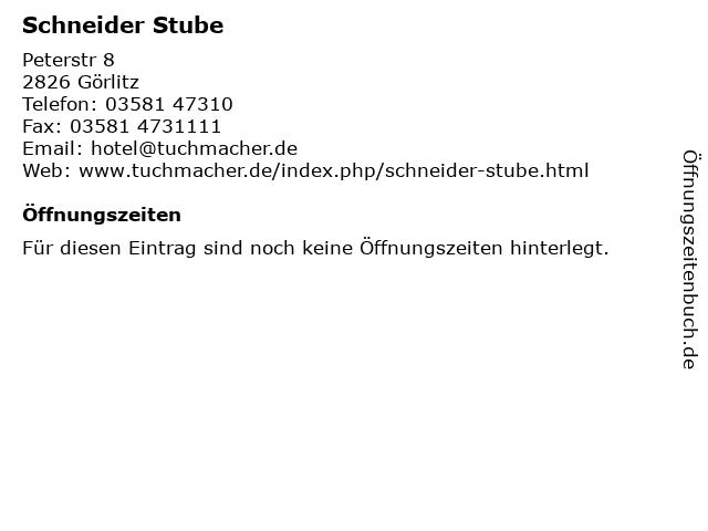 Schneider Stube in Görlitz: Adresse und Öffnungszeiten