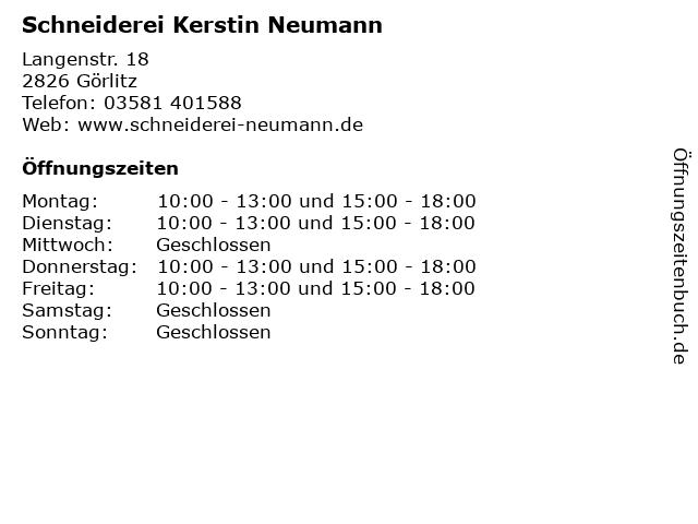 Schneiderei Kerstin Neumann in Görlitz: Adresse und Öffnungszeiten