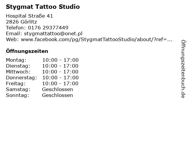 Stygmat Tattoo Studio in Görlitz: Adresse und Öffnungszeiten