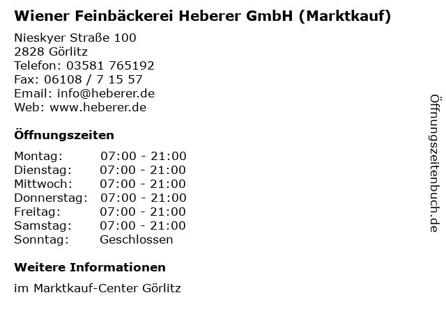 Wiener Feinbäckerei Heberer GmbH (Marktkauf) in Görlitz: Adresse und Öffnungszeiten