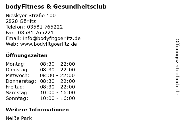 bodyFitness & Gesundheitsclub in Görlitz: Adresse und Öffnungszeiten